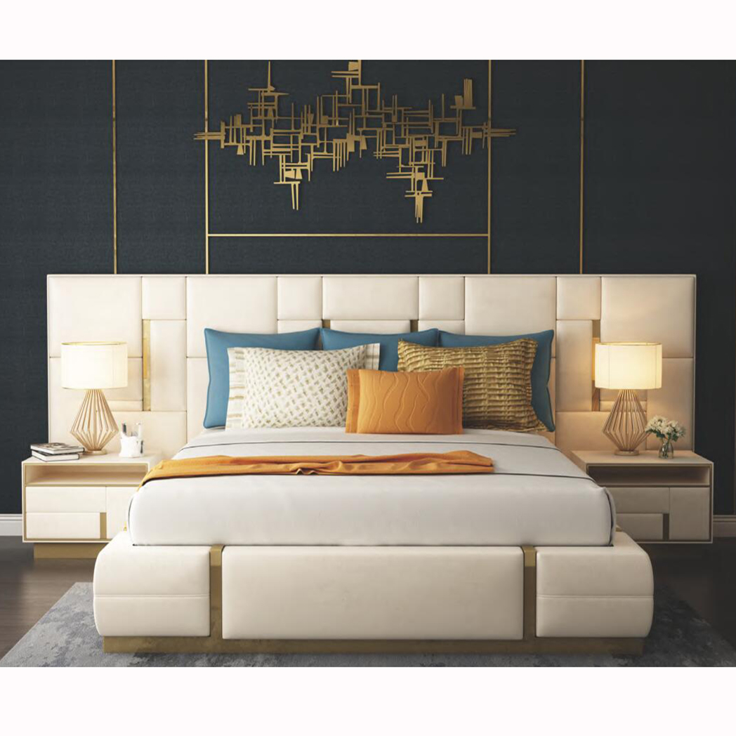Modern Luxury Bedroom Furniture Upholstered Real Leather Italian Bed With Extended Headboard King Size White Leather Bed Buy Leather Bed With High Headboard Real Leather Italian Bed White Leather Bed Product On Alibaba Com
