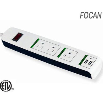 listed American 3-outlet power strip with 2 USB charging port