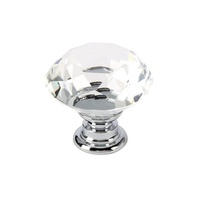 Decorative 30mm 40mm Clear Diamond Shape Crystal Glass Pull Handle Cupboard Cabinet Drawer Door Furniture Knobs