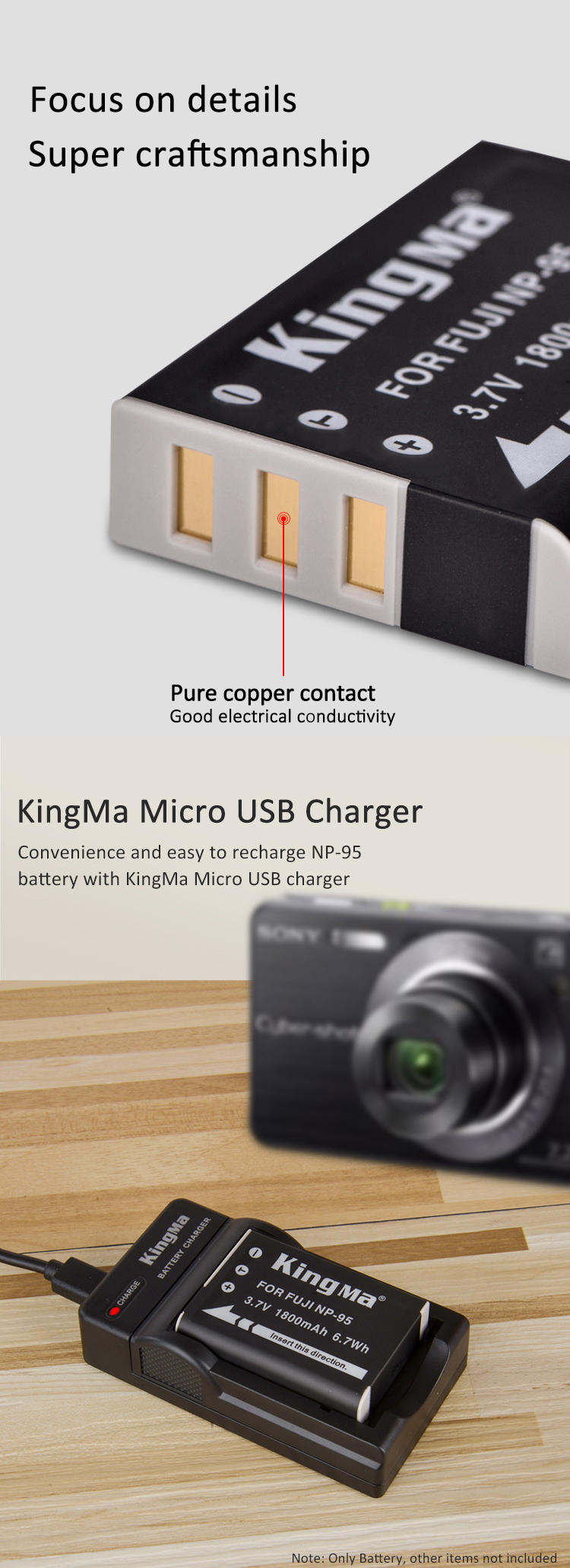 KingMa Rechargeable Lithium Battery NP-95  For FUJI X70 X100 X30 X100T X100S Camera