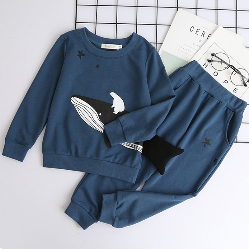 toddler cartoon whale star decoration sweatshirt and long pants girl boutique clothing set 2 pieces