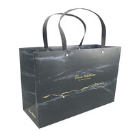 custom made high quality logo gold foil stamping matt black paper bag with ribbon handle sac en papier