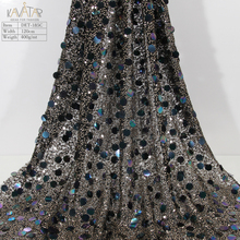 Korean 3mm 10mm Sequin Woven Tulle Sequin Fabric Black & Gold for Formal Dress Evening Gown