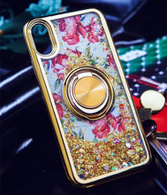 Metal Ring Stand Glitter Liquid Electroplated TPU Case For ZTE Z981 Z963 Z986 N9560 <strong>Z</strong> MAX PRO Cover