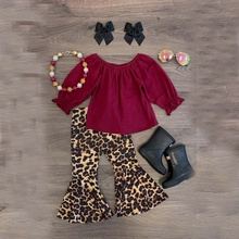 Fashion Girls Clothing Sets Wholesale Children Boutique Outfits Long Sleeves leopard print Pants baby clothes kids Sets