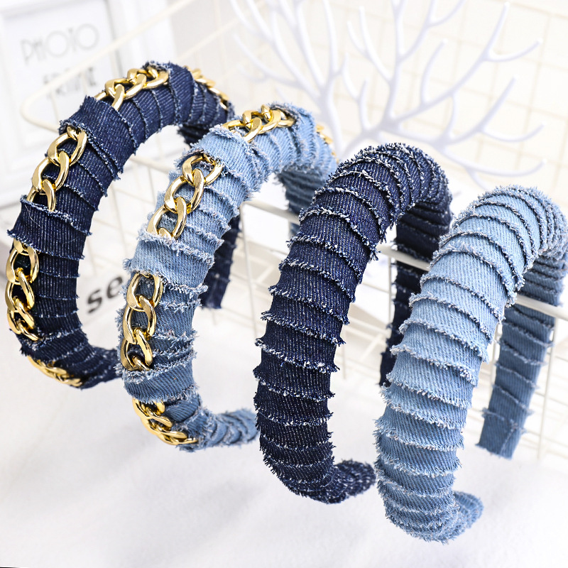 Hot Sale Cool Women Denim Fabric <strong>Hair</strong> Hoop Solid Color <strong>Hair</strong> Ornament Chain Twisted Sponge Headband Fashion <strong>Hair</strong> <strong>Accessories</strong>
