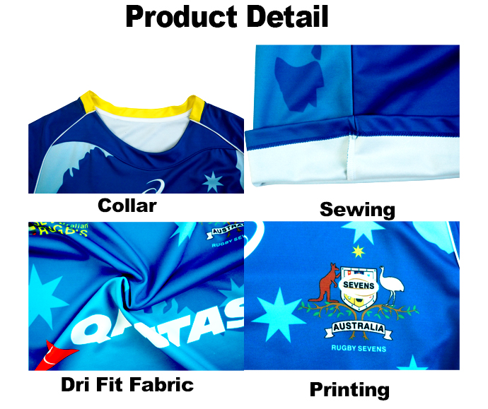 sublimation printed design green and yellow cheap striped rugby jersey