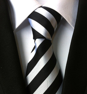 Latest striped white and black polyester custom mens necktie in china for fashion accessory