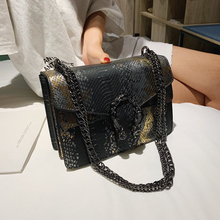 2019Hot selling ladies shoulder handbags snakein pu leather crossbody bag purse with <strong>chain</strong>