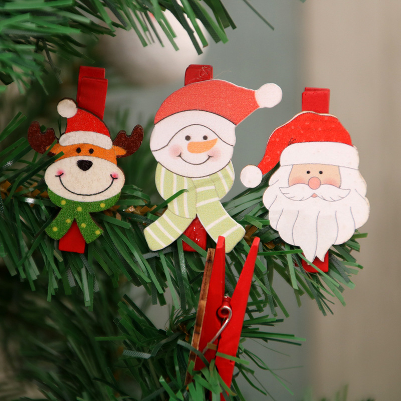 YHC001 Trade Assurance New Design Fashion Christmas Tree Decoration Cartoon Santa Claus Snowman Deer Wooden Clip 6pcs Decoration