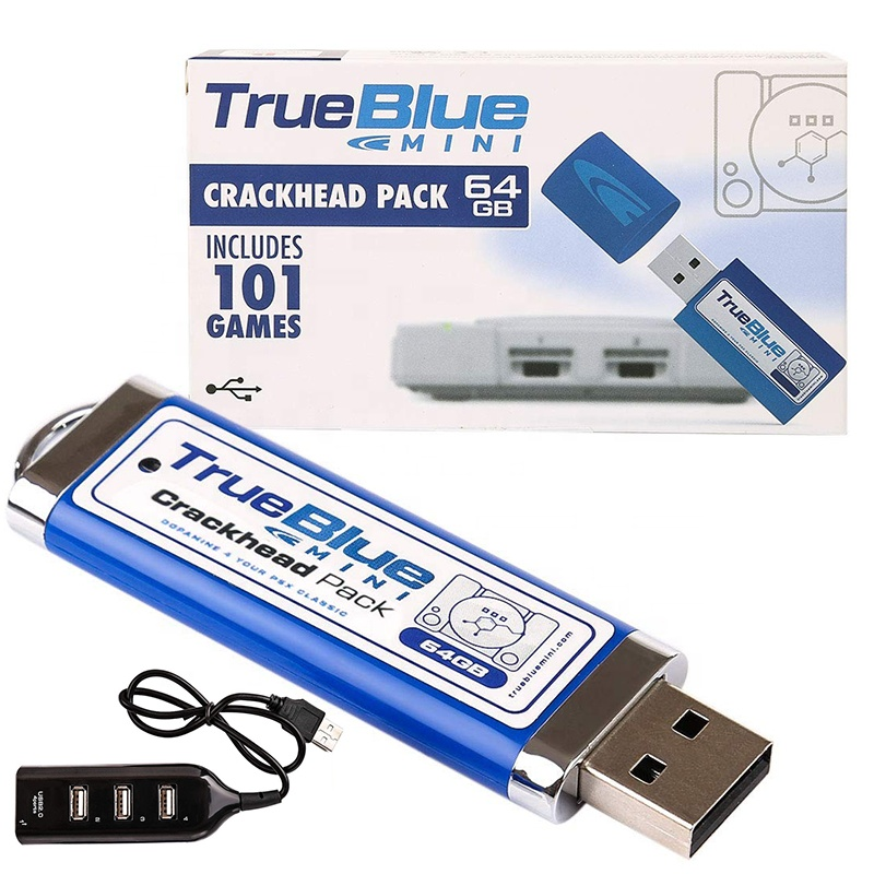 <strong>101</strong> in 1 for 2 Players 64 GB True Blue Mini Crackhead Pack for PlayStation Classic