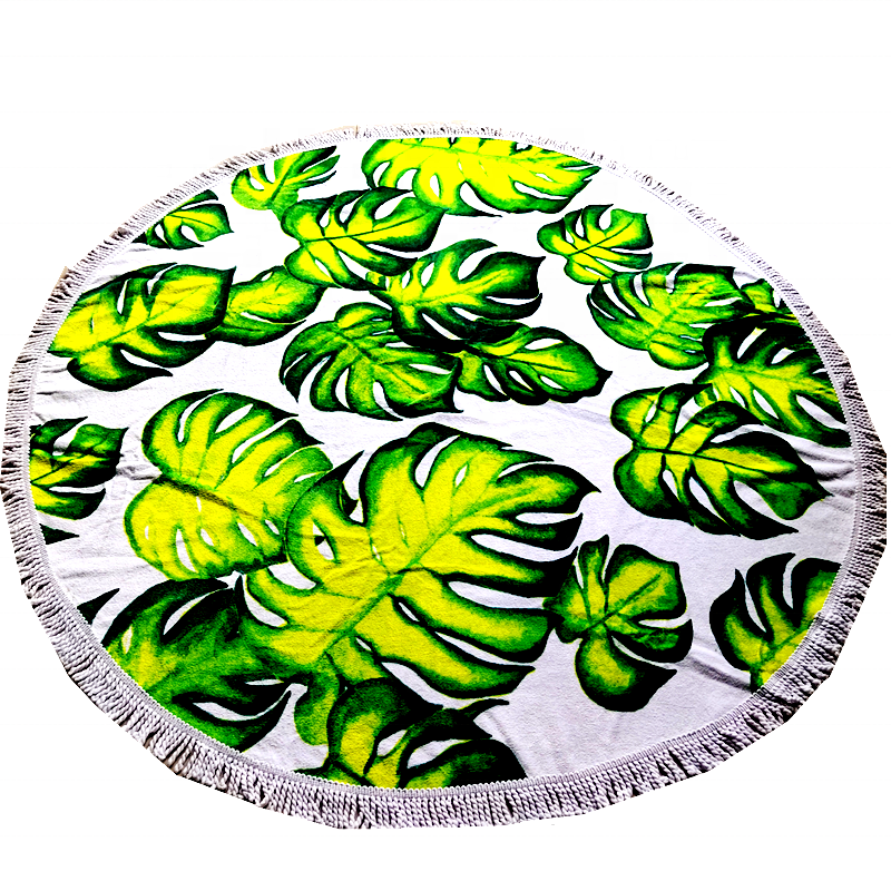 China suppliers <strong>100</strong>% cotton summer hot <strong>sale</strong> thick and high quality tropical custom digital print round bath beach towel