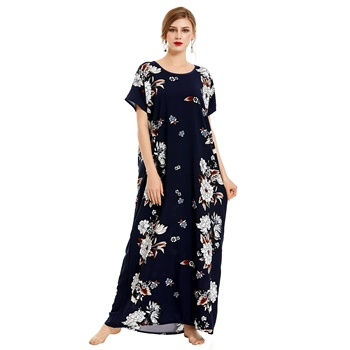 hot selling summer fashion rayon printing floral elegant sexy nightdress for women