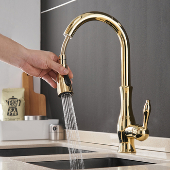 Kitchen Faucets Black Single Handle Pull Out Kitchen Tap 866011 Single Hole Handle Swivel 360 Degree Water Mixer Tap