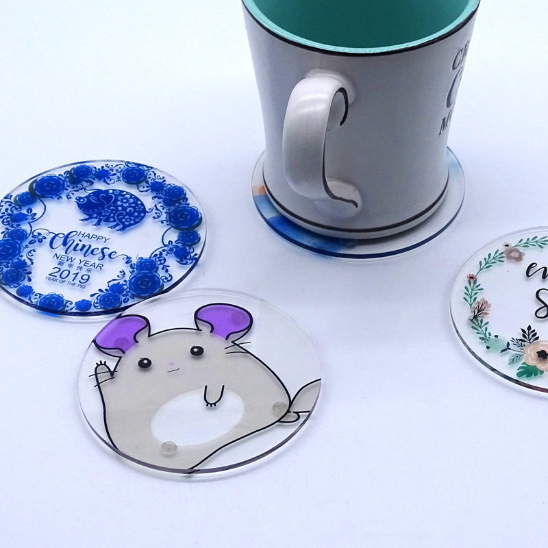Wholesale Custom Printed Cute Animal Round Shape Clear Plastic Tea Cup Acrylic Coaster