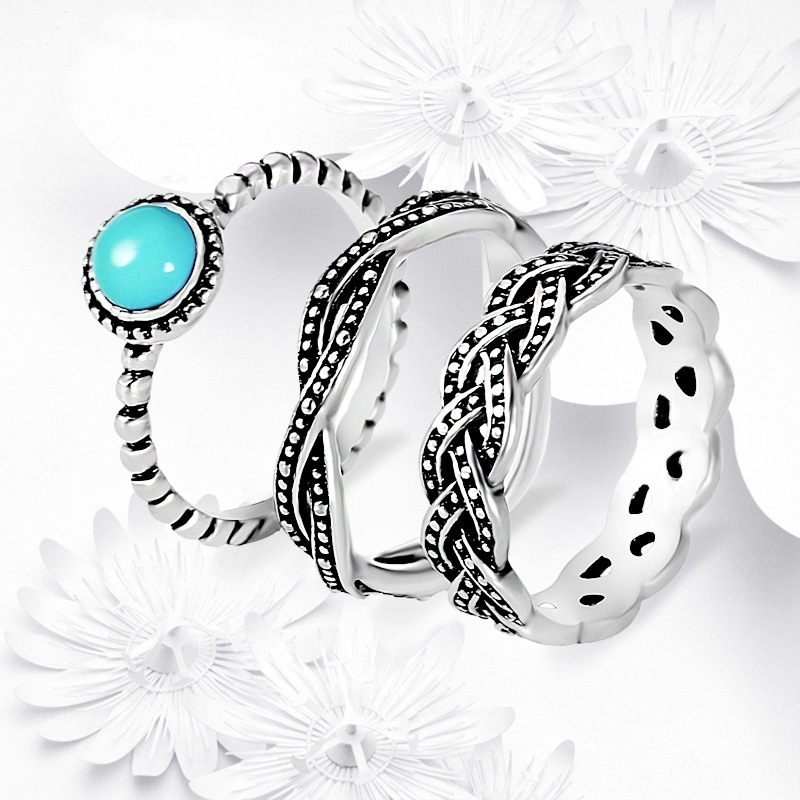 Ladies Turquoise Jewelry Bohemian <strong>3</strong> in 1 Knuckle Stackable Rings Set Women