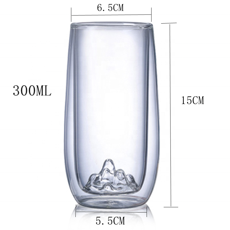 Hot <strong>sale</strong> 2020 New Design Snow Mountain Shape Borosilicate Double Wall Glass