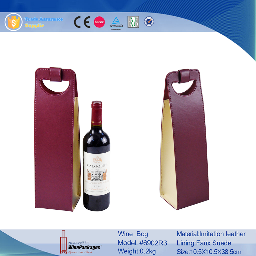 personalized luxury gift packaging custom printed made leather wine bag christmas bulk  wholesale