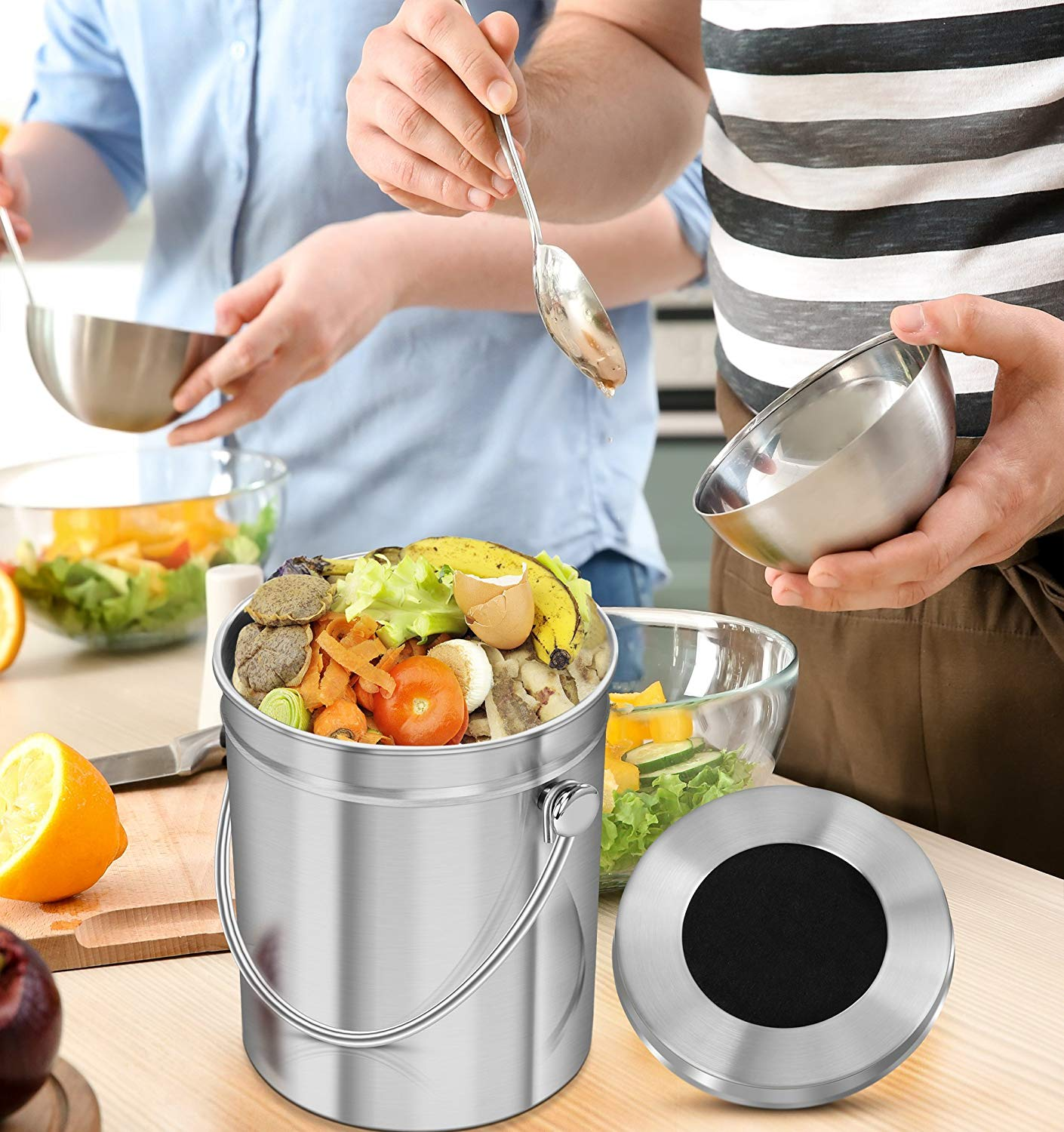 1.3 Gallon Stainless Steel Indoor Kitchen Countertop Compost Bin for Kitchen Food Waste with Carrying Handle