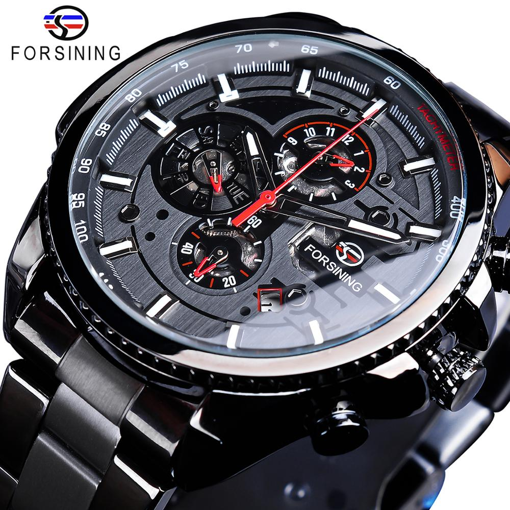 Forsining Three Eye Six Dial Calendar Stainless <strong>Steel</strong> Men Mechanical Automatic Wrist Watches Luxury Military Sport Male Clock