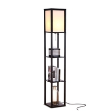 LED Wooden Frame Shelf Floor Lamp Modern Standing <strong>Light</strong> For Living Rooms Bedrooms