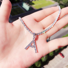 tennis chain diamond cz letter pendant necklace