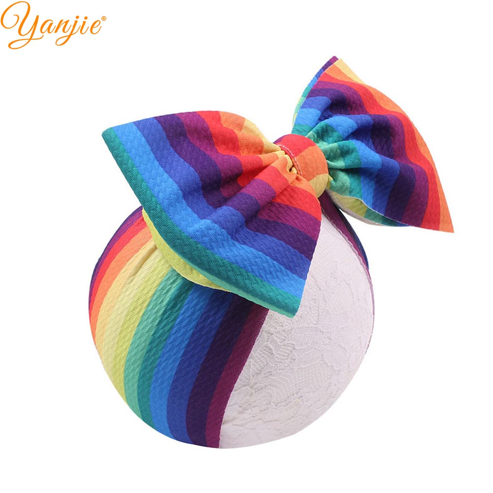 "2019 New Arrival Large 7"" Hair Bows Top Knot Headband Waffle Flower Print Elastic Headwrap DIY Girls Hair Accessories For Kid"