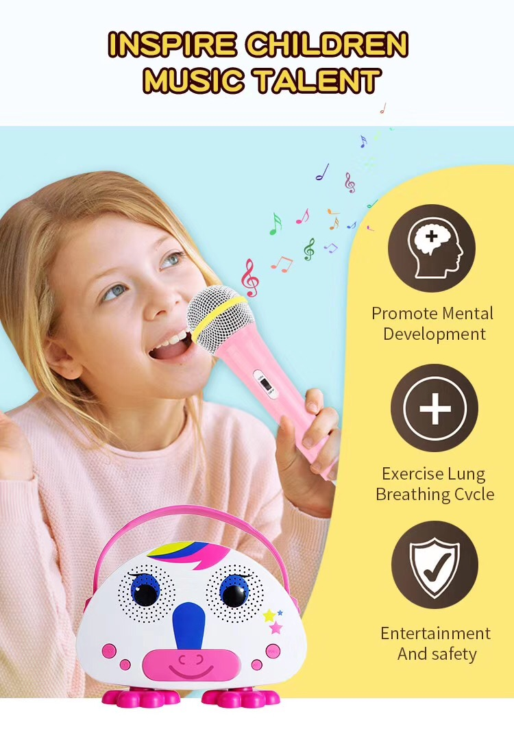 Children portable karaoke mini speaker with microphone