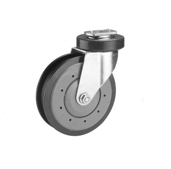5inch pu fixed escalator caster wheel with plastic thread cover