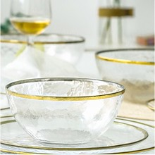 Luxury Gold Inlaya dinnerware <strong>plate</strong> serving platter Glass snack dish dessert dish cake <strong>plate</strong> gift set