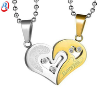 high quality I LOVE YOU heart shape Ti metal diamond <strong>pendant</strong> for lover gifts wholesale