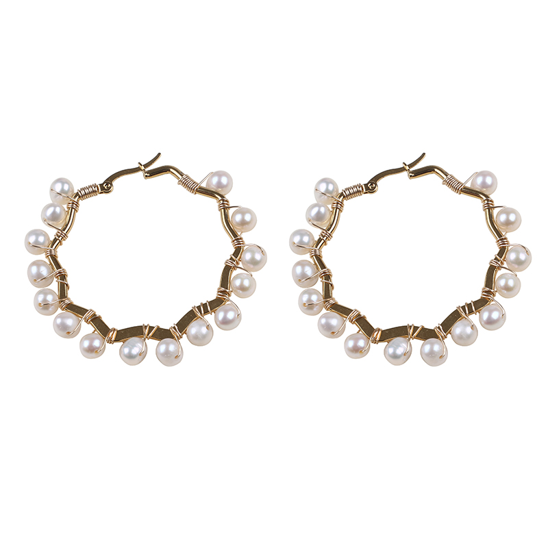 Korean Party Gold Plated Handmade Large Hook Beaded Pearl  Earrings For Women