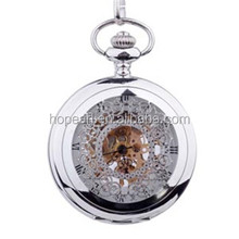 WAH182 Silver Skeleton Hollow Cover Mechanical Pocket Watch