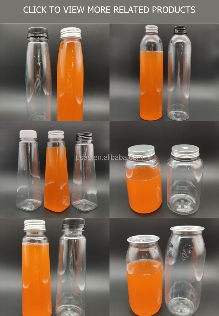 500ml Empty Transparent recycled round shape plastic beverage juice bottle