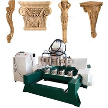 4 Heads 3D Multi Spindles 4 Axis Wood Legs Carving CNC Router Engraver Machine