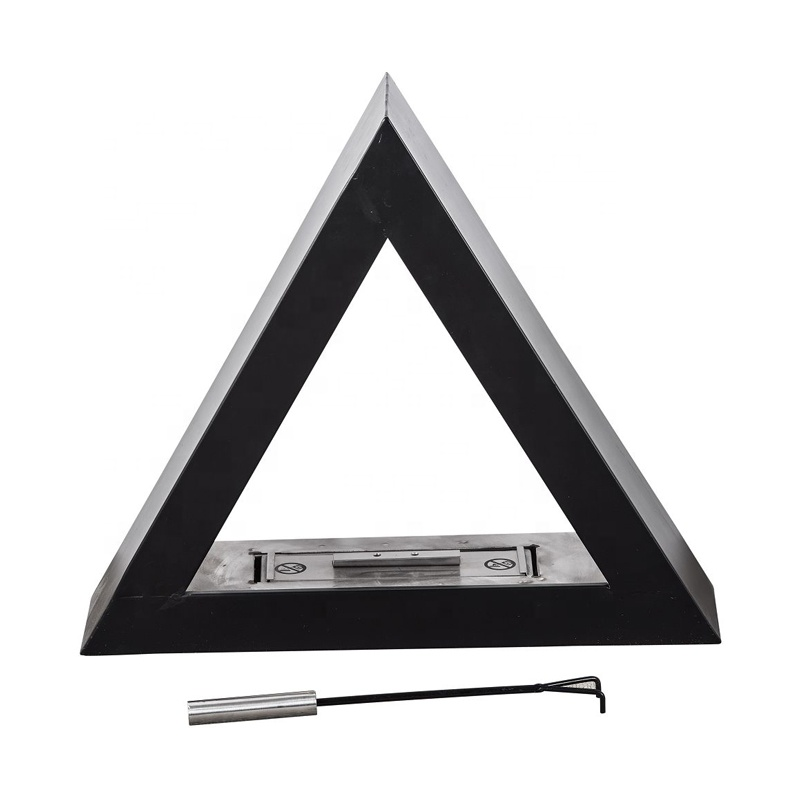 special triangle  fireplace with stainless steel alcohol box