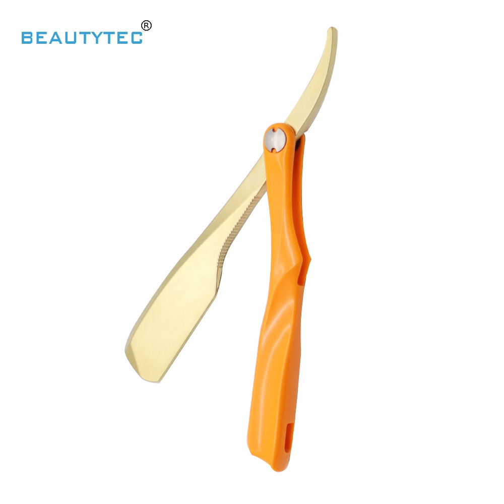 Hot Gold  Fold Style Cut Throat Shaving Razors Straight Razor For Men With Candy Orange Color ABS Handle