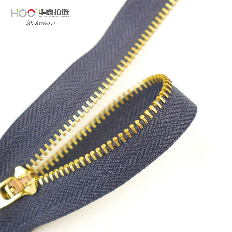 Custom zipper #<strong>3</strong> brass <strong>Y</strong> teeth close end metal zipper for <strong>jeans</strong>