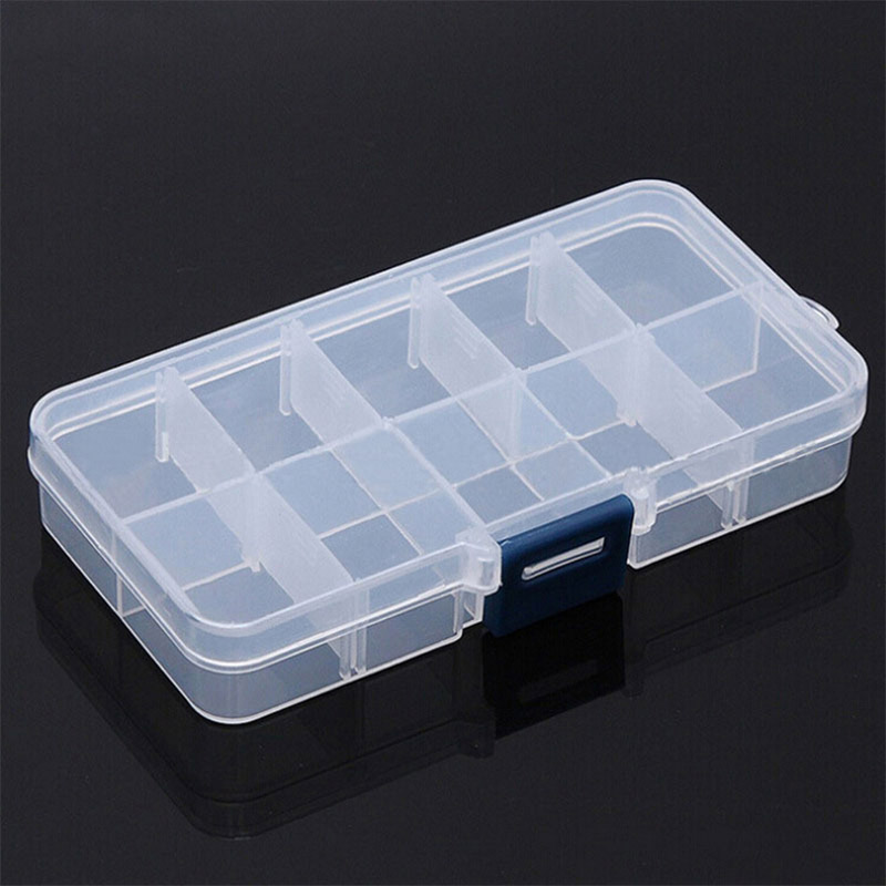 <strong>10</strong> Grids Compartments Plastic Transparent Organizer Jewel Bead Case Cover Container Storage Box for Jewelry <strong>Pill</strong>