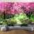 Custom 3D Photo Wallpaper Flower Romantic Cherry Blossom Tree Small Road Wall Mural Wallpapers For Living Room Bedroom De Parede