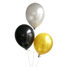 ALO <strong>12</strong> inch Round Helium Latex Free Metallic Pearl Color White Gold and Black Balloons