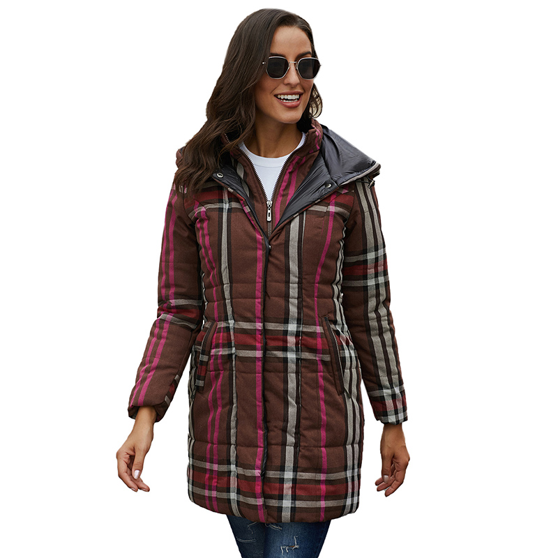 New Arrival Casual Vintage Style Plaid Warm Cotton Women Outwear Coat