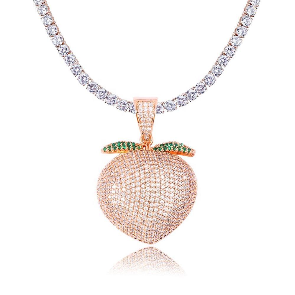 Fresa Colgante color plata nuevo Diamante Publica Gratis! Collar