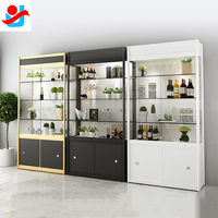 glass display cabinet with led lights/design glass showcase for home /glass living room showcase design