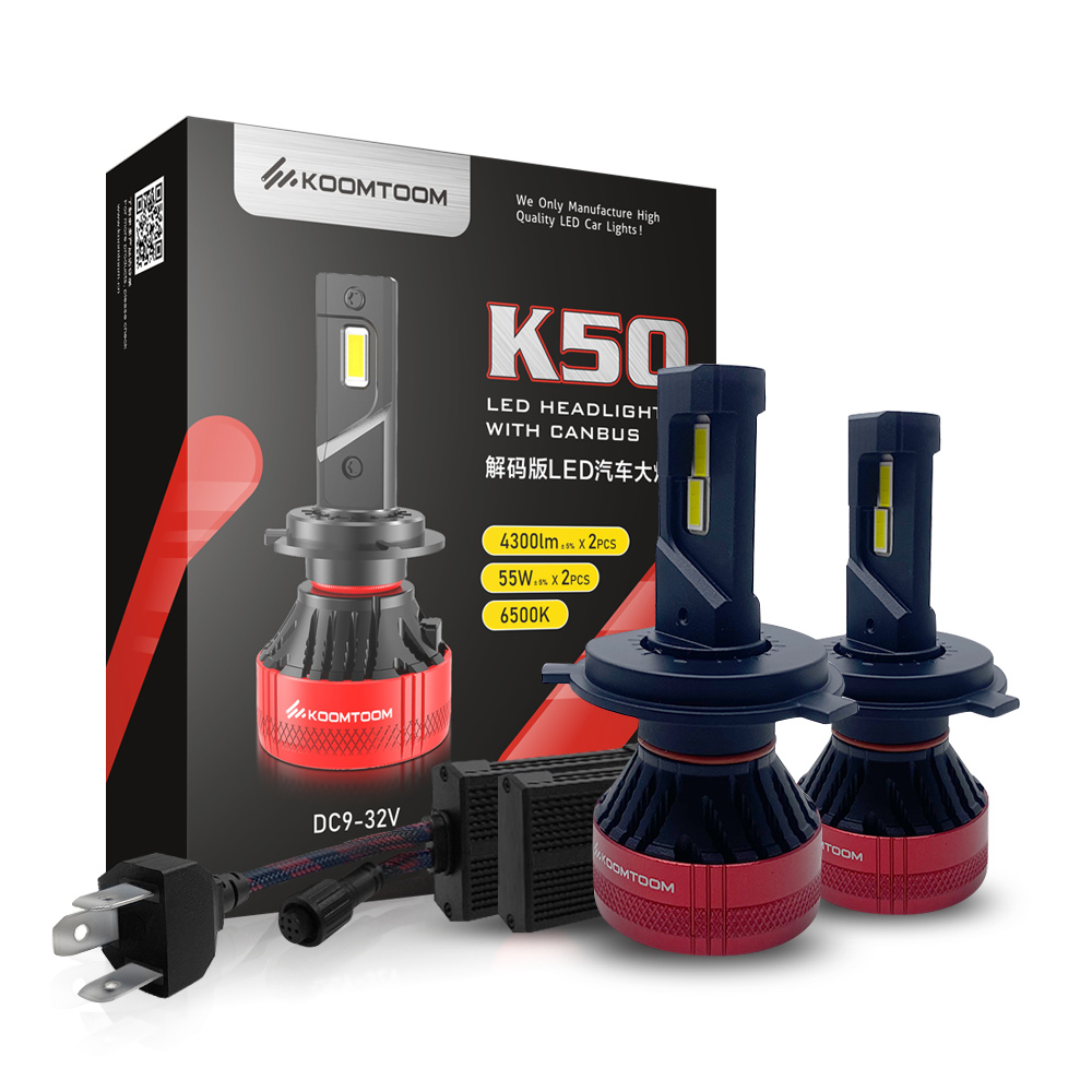 KOOMTOOM <strong>Customized</strong> Auto Grade LED Chips New Upgrade G-XPx3 Lamp Chip H4 HB2 9003 6500K Supernova V4 Headlights H4 LED Bulb