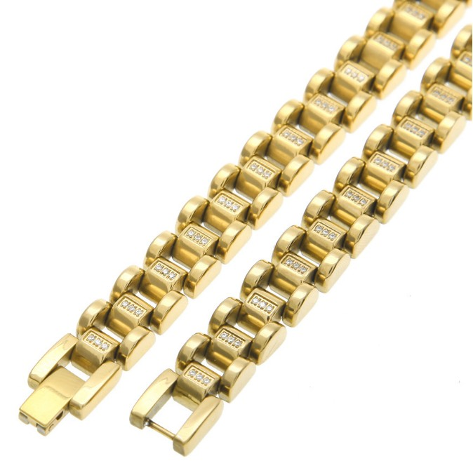 Super Noble Customize Men's Surgical Stainless Steel Luxury Looking Golden PVD Vacuum Plating Watch Band Style Linked Necklace