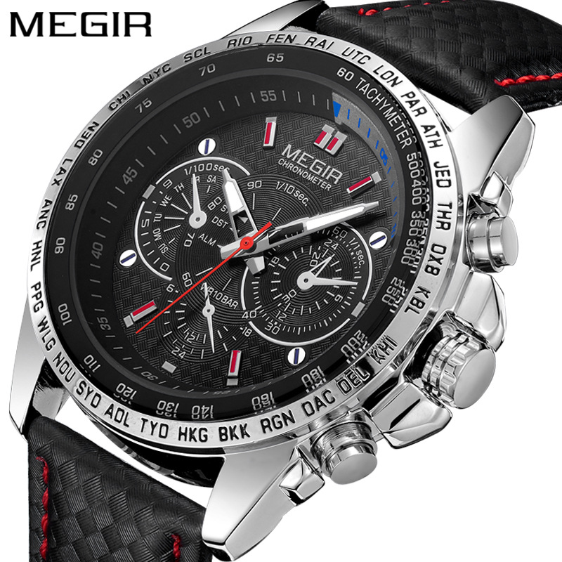 MEGIR <strong>1010</strong> Mens Watches Top Luxury Brand Male Clocks Military Army Man Sport Clock Leather Strap Business Quartz Men Wrist Watch