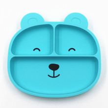 Amazon hot high quality new cartoon dinner for eco-friendly children baby feeding <strong>plate</strong> bear shaped baby silicone <strong>plate</strong>