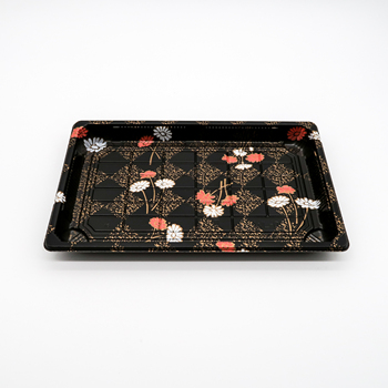 Restaurant japanese disposable black square rectangular pp plastic sushi plates