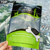 Zipper plastic dog treat mylar ziplock bag with window for dog food